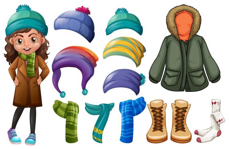 Chica y diferentes tipos de ropa de invierno.