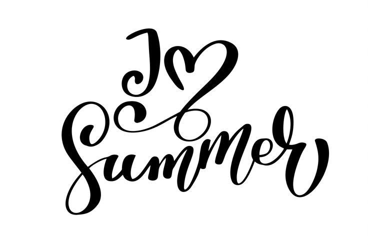 Eu amo o texto de verão Mão desenhada rotulação manuscrita design de caligrafia, ilustração vetorial, citação para cartões de design, tatuagem, convites de férias, sobreposições de foto, impressão de t-shirt, panfleto, design de cartaz