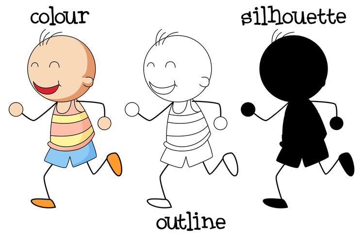 Unterschiedliche Art der Grafik des Jungenlaufens