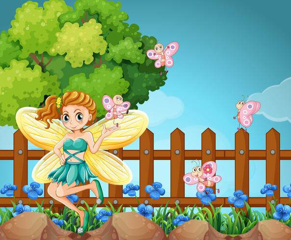Fairy and butterflies in the park vector