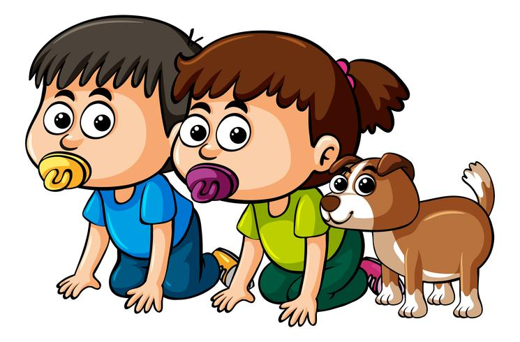 Two toddlers and cute dog