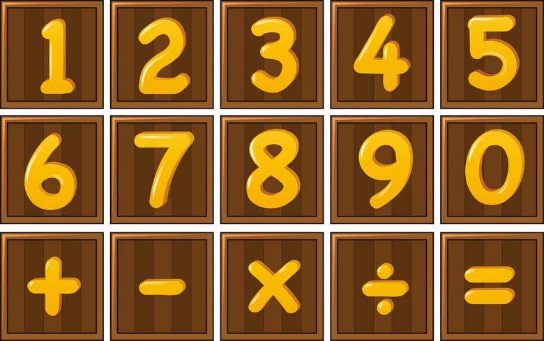 Número uno a cero y signos matemáticos en tablas de madera.