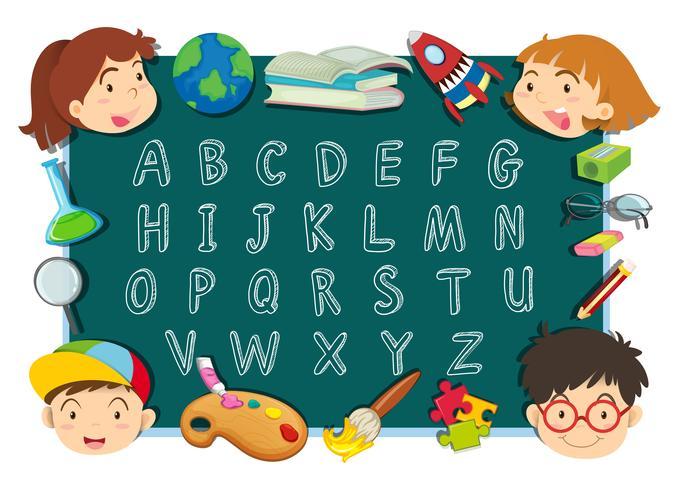 Diseño de letra del alfabeto con niños y papelerías