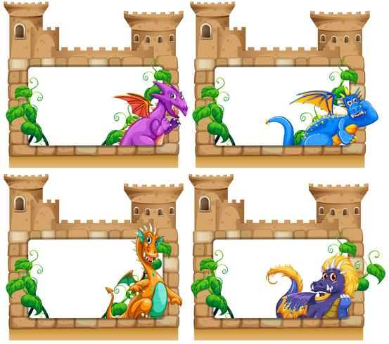 Diseño de cuadros con dragón y castillo.