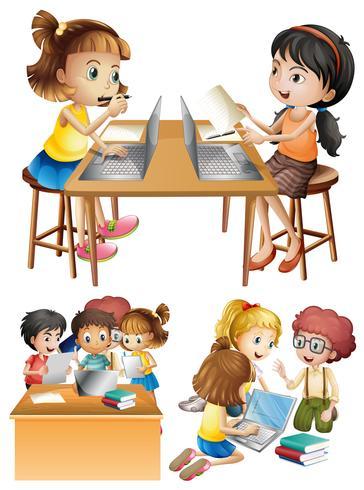 Etudiants travaillant sur ordinateur