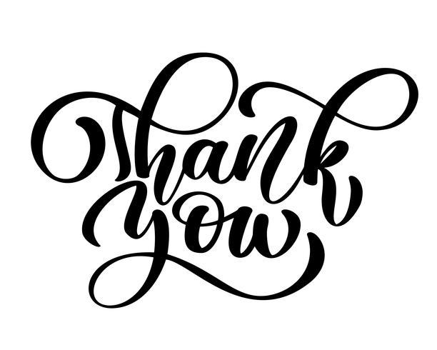 Tack handskriven inskription. Handtecknad bokstäver tacksägelse kalligrafi kort Vektor illustration
