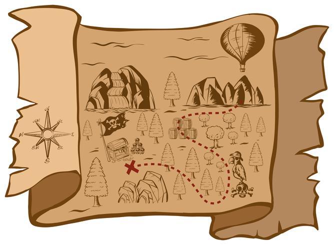 Mappa del tesoro su carta marrone