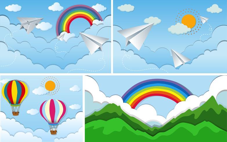 Four sky scenes with rainbow and sun