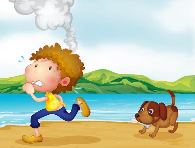 Ein Junge läuft mit seinem Hund