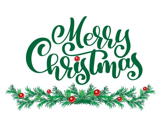teksten Merry Christmas handgeschreven kalligrafie letters. handgemaakte vectorillustratie. Leuke penseelinkt typografie voor foto-overlays, t-shirt print, flyer, posterontwerp