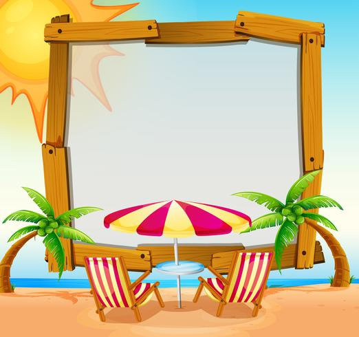 Frame template with beach in background
