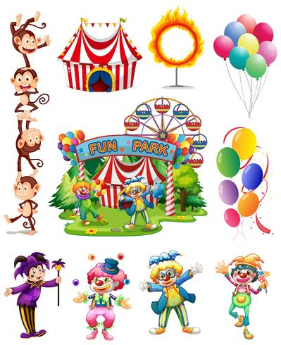 Clowns and other objects from circus