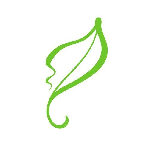 Main dessinée logo vert feuille de thé écologique. Cosmétique organique d'écologie nature élément vector icon. Illustration de la calligraphie bio Vegan