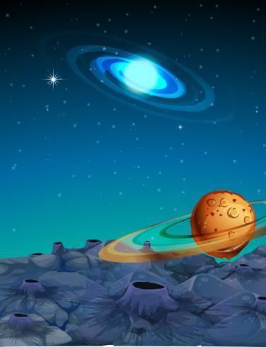Scena di sfondo con pianeti nello spazio