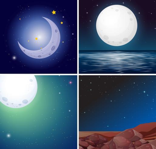 Conjunto de escenas nocturnas de luna.