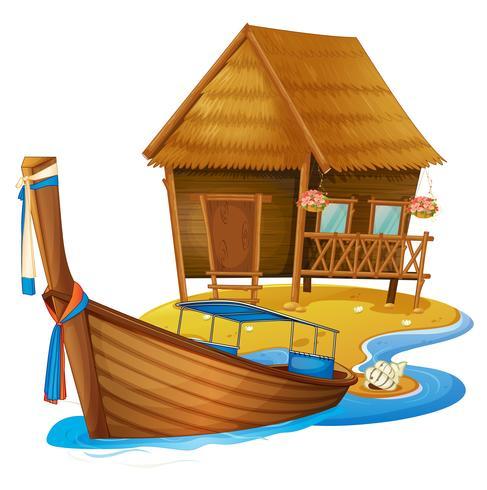 Trähus och båt på ön