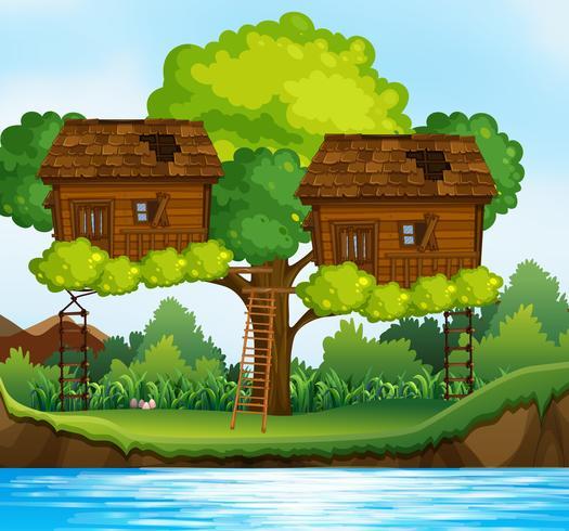 Dos casas en los árboles en el árbol por el río