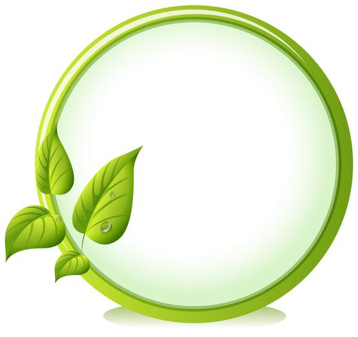 En rund gräns med fyra gröna blad