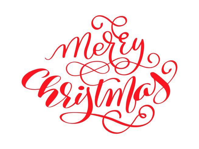 Roter Vektor der frohen Weihnachten kalligraphischer Beschriftungstext für Designgrußkarten. Feiertagsgruß-Geschenk-Plakat. Kalligraphie moderne Schrift