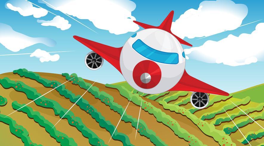 Un avión que vuela y un hermoso paisaje.