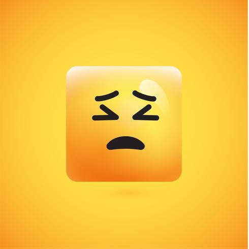 Hög detaljerad fyrkantig gult uttryckssymbol på en gul bakgrund, vektor illustration