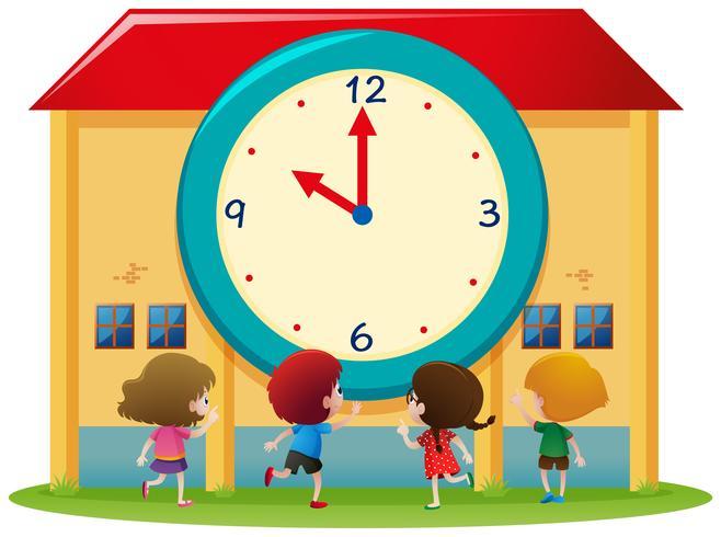 Kinderen en grote klok op school