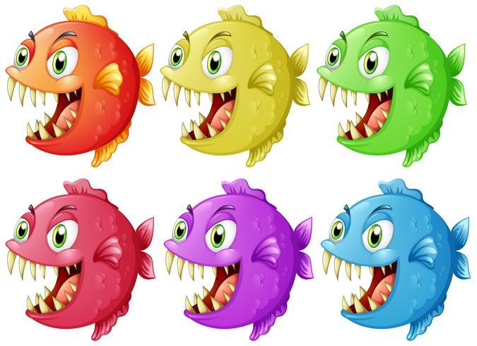 Seis peces con dientes afilados.
