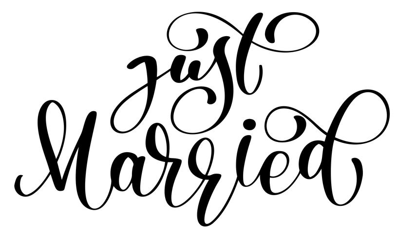 Just married vector text on white background. Calligraphy wedding lettering illustration. For presentation on card, romantic quote for design greeting cards, T-shirt, mug, holiday invitations