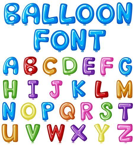 Alfabetos de design de fonte em forma de balão