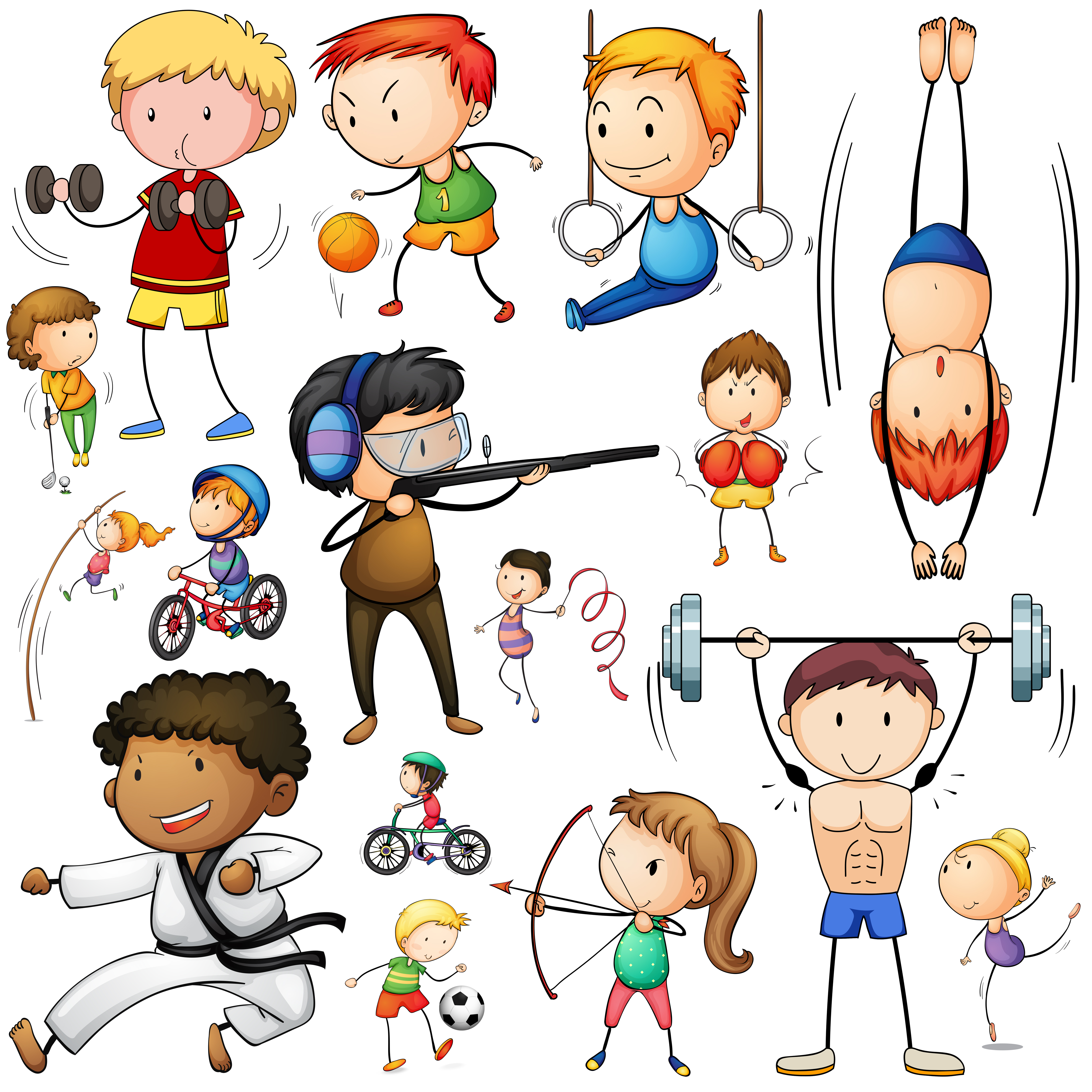 sports types different doing vector illustration sport gymnastics clipart equipments graphics many athlete