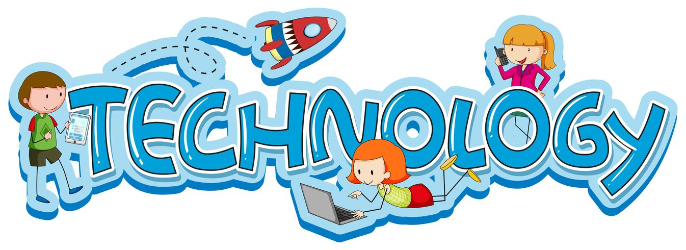 Diseño de palabras para tecnología con niños y gadgets.