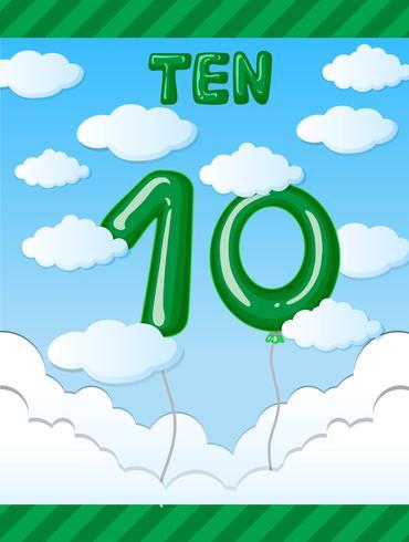 Number ten balloon on sky