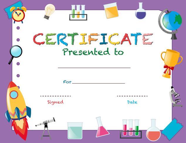 Modello di certificato con oggetti scolastici
