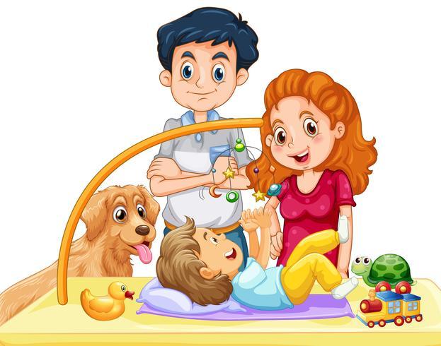 Família, com, toddler, e, cão