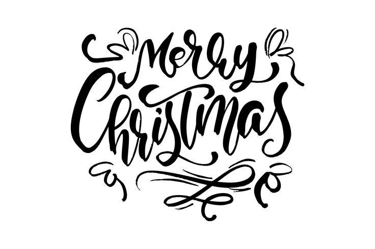 Buon Natale vector testo calligrafico lettering per auguri di design. Poster di regalo di auguri di vacanza. Calligrafia moderna Font