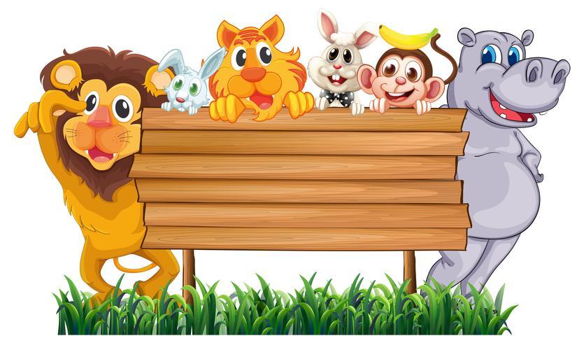 Houten bord met veel dieren
