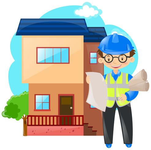 Engineer working on building house vector