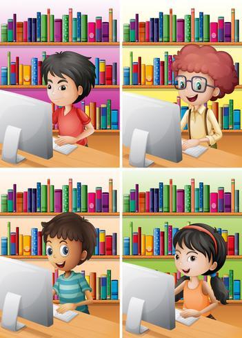 Ragazzi e ragazza che lavora al computer