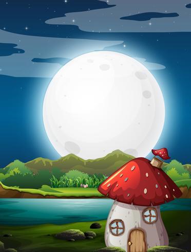 Mushroom house at night
