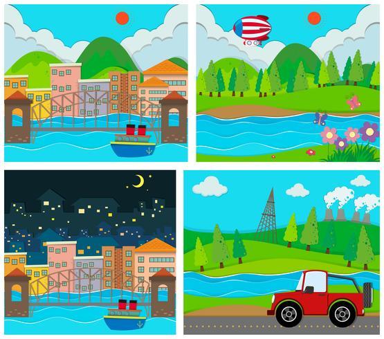 Quattro scene di aree rurali e urbane