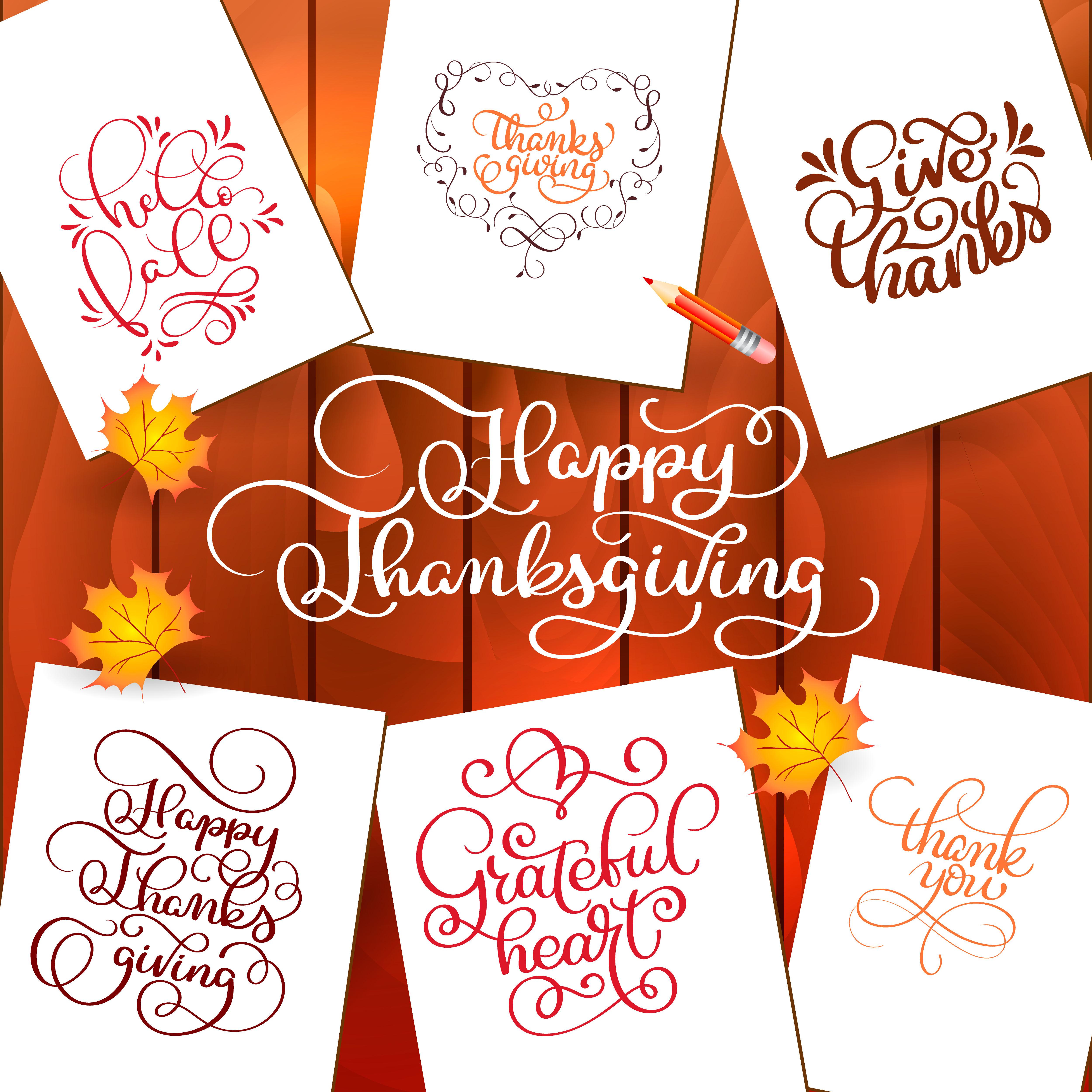 set of hand drawn thanksgiving day texts celebration quotes happy