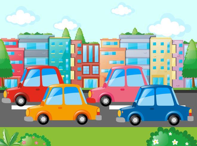 Scen med många bilar på väg