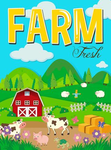 Scena di fattoria con animali e fienile