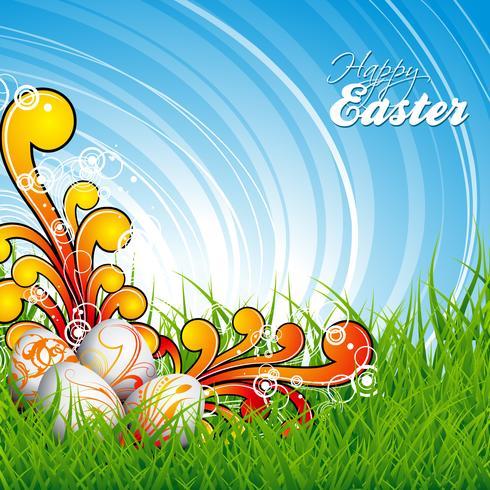 Ostern-Abbildung mit Farbe gemalten Eiern auf Frühlingshintergrund