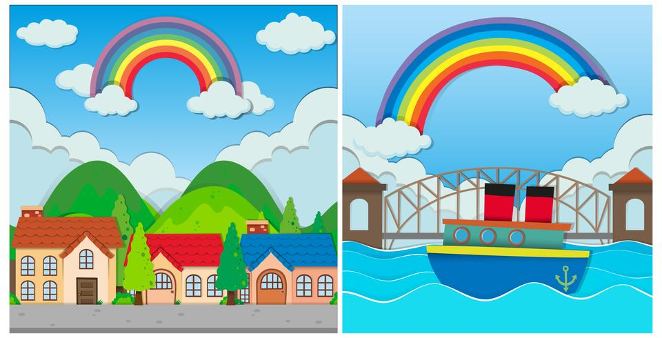A Set of Beautiful Rainbow Scene