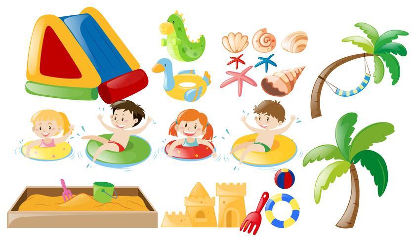 Crianças nadando e brinquedos de praia