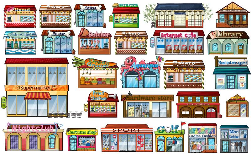Different shops and buildings