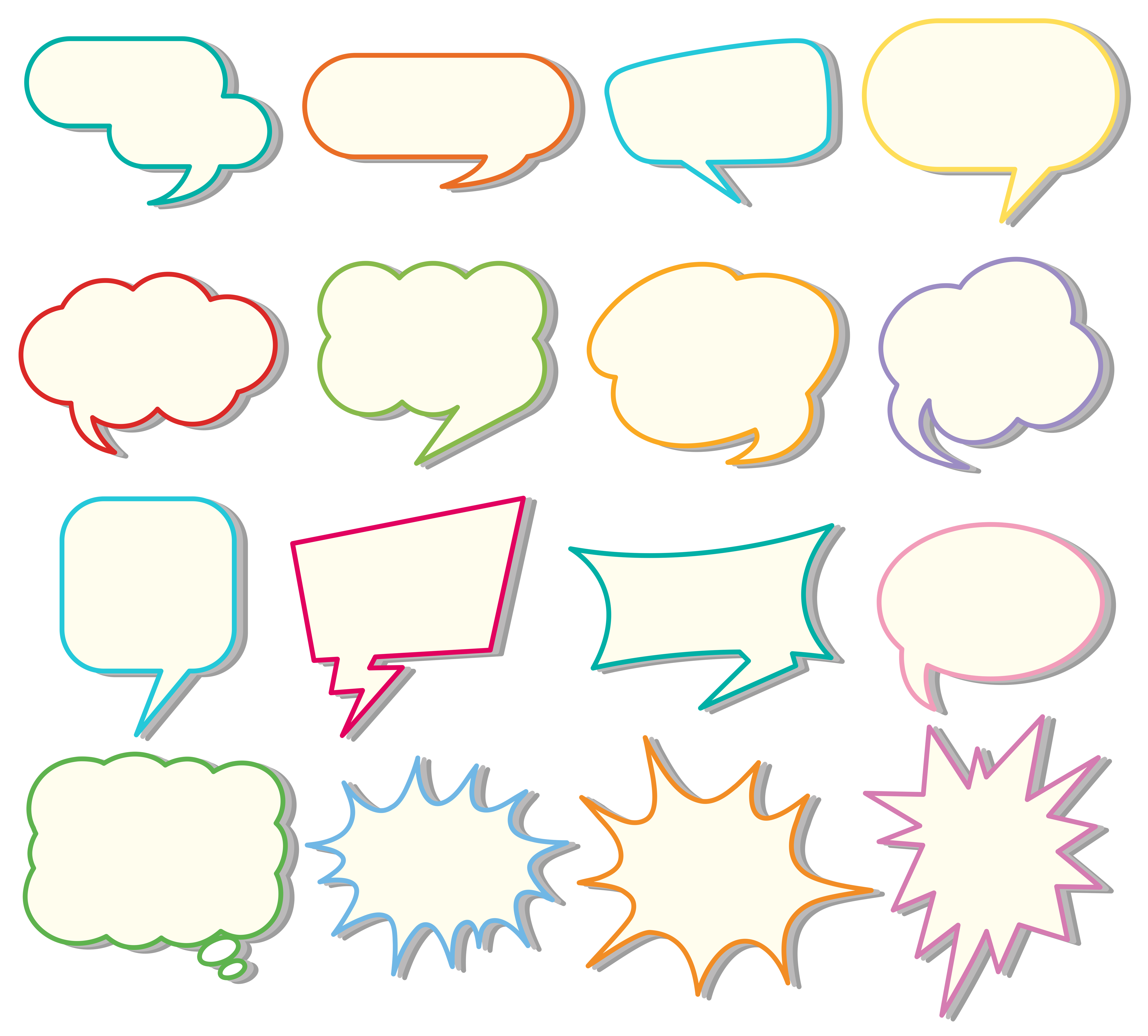 Speech bubble templates on white background - Download ...