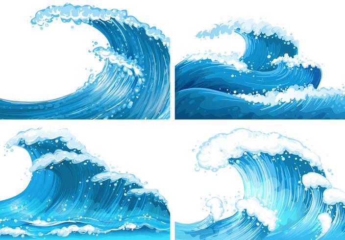 Cuatro escenas de olas del océano.