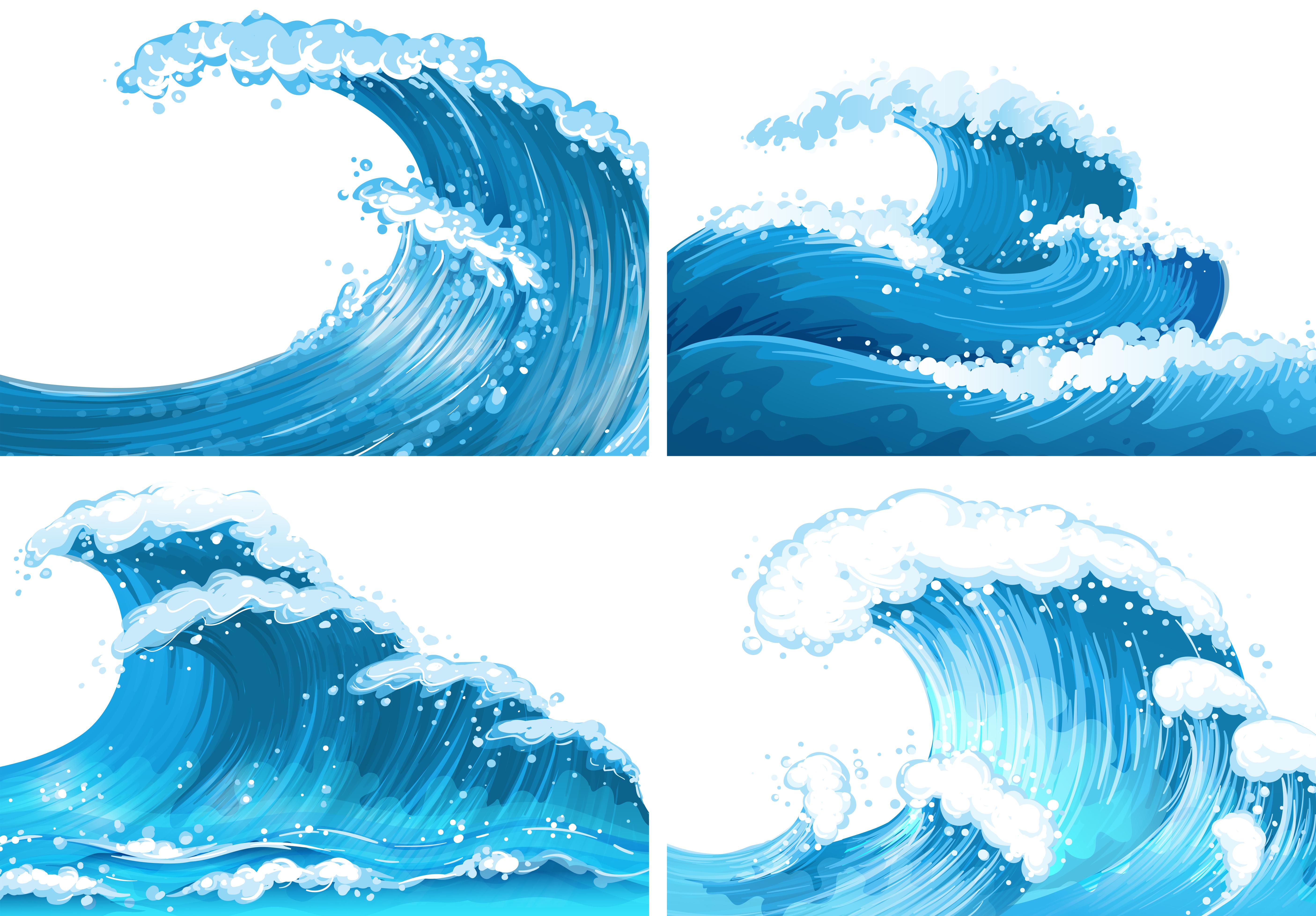 Four scenes of ocean waves - Download Free Vectors ...